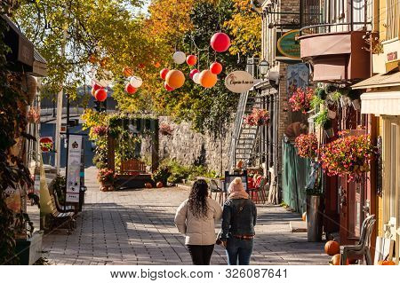 Quebec City, Canada - 5 October 2019: Petit Champlain Street In The Old Quebec City.
