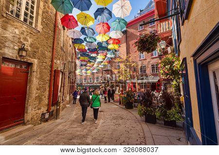 Quebec City, Canada - 5 October 2019: Umbrella Alley In Rue Du Cul De Sac