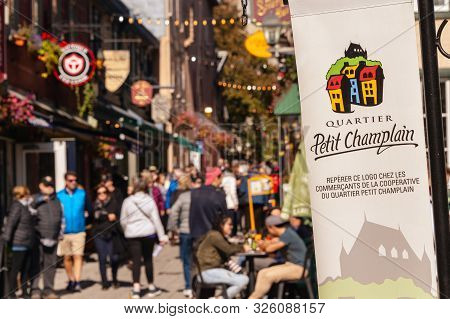 Quebec City, Canada - 5 October 2019: Petit Champlain Street Crowded With Tourists In The Old Quebec