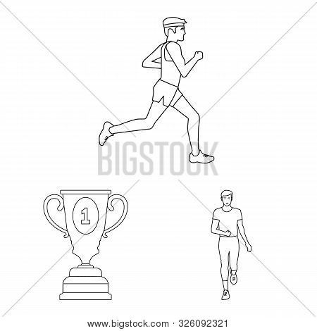 Vector Design Of Exercise And Sprinter Symbol. Collection Of Exercise And Marathon Vector Icon For S