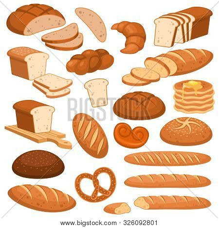 Cartoon Bread. Bakery Rye Products, Wheat And Whole Grain Sliced Bread. French Baguette, Croissant A