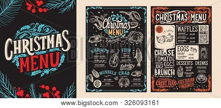 Christmas And New Year Food Menu Template For Restaurant. Vector Illustration For Holiday With Hand-