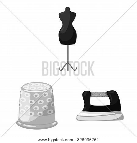 Vector Design Of Dressmaking And Textile Symbol. Set Of Dressmaking And Handcraft Vector Icon For St