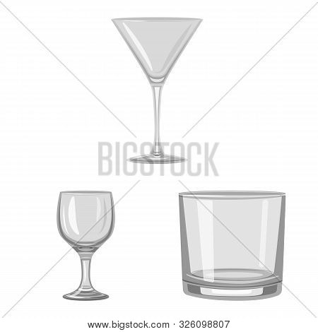 Isolated Object Of Capacity And Glassware Symbol. Collection Of Capacity And Restaurant Stock Symbol