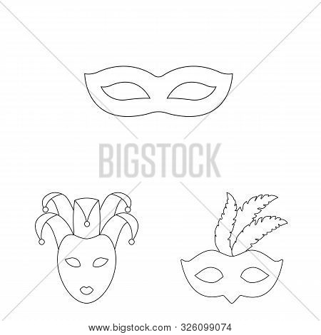 Vector Illustration Of Masquerade And Mystery Logo. Collection Of Masquerade And Festival Stock Symb