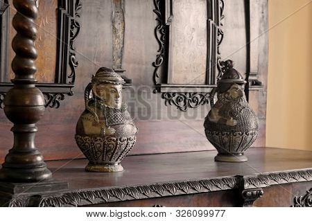 Casta, Slovakia - August 31, 2019: Beer Mugs In The Form Of People Who Like To Drink Beer On Old Bur