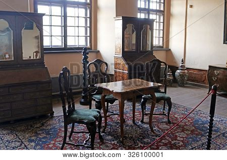 Casta, Slovakia - August 31, 2019: Interior Of Medieval Cerveny Kamen (red Stown) Castle. Room With