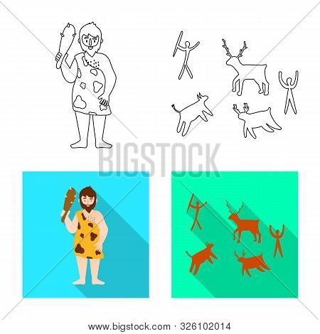 Vector Design Of Evolution And Neolithic Symbol. Set Of Evolution And Primeval Vector Icon For Stock