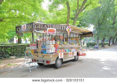 Rome Italy - June 15, 2019: Kiosk Shop Car Parked At Borghese Garden Park Rome Italy