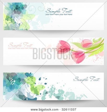 Set of three banners. Beautiful floral headers