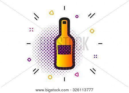 Merlot Or Cabernet Sauvignon Sign. Halftone Circles Pattern. Wine Bottle Icon. Classic Flat Wine Ico