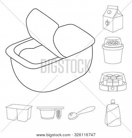 Vector Illustration Of Calcium And Food Sign. Collection Of Calcium And Product Stock Vector Illustr