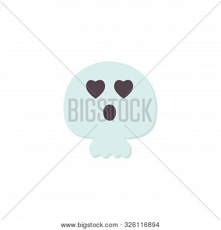 Cute Halloween Skull Flat Icon Isolated On White Background. Cartoon Skeleton Character. Traditional