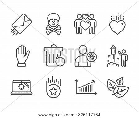 Set Of Business Icons, Such As E-mail, Hand, Chemical Hazard, Chart, User Idea, Love Couple, Recover