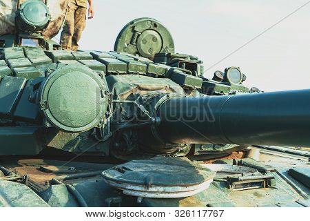 Close-up Of Military Tank Or Panzer With Tower, Toned