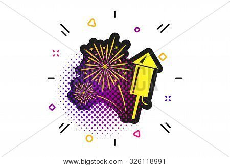 Fireworks With Rocket Sign Icon. Halftone Dots Pattern. Explosive Pyrotechnic Symbol. Classic Flat F