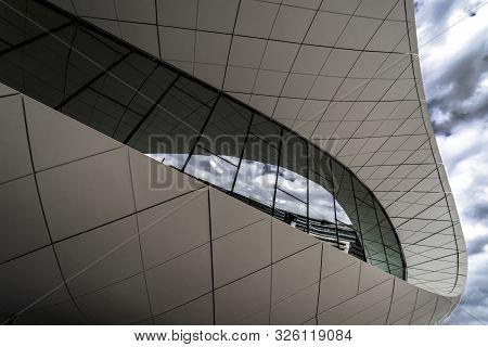 Union Museum, Etihad, Dubai, United Arab Emirate - Jan.4, 2018: Fantastic Pavilion Of The Etihad Mus