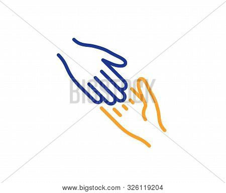 Give Gesture Sign. Helping Hand Line Icon. Charity Palm Symbol. Colorful Outline Concept. Blue And O