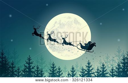 Santa Claus On Sleigh With Reindeer On Background Of Full Moon. Merry Christmas And Happy New Year.