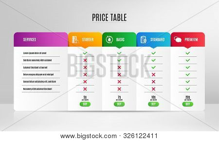 Payment Card, Refill Water And Checklist Icons Simple Set. Pricing Table, Price List. Messenger Sign