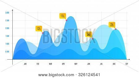 Search Package, Hotel And Loyalty Star Line Icons Set. Infographic Chart, Financial Data Graphic. Ab