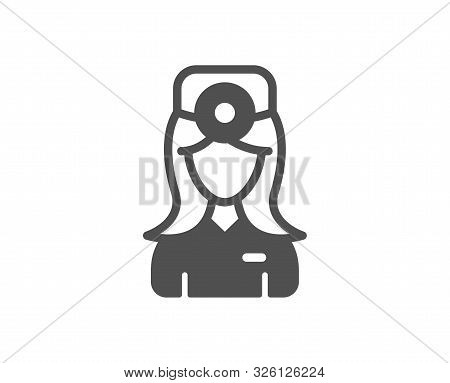 Health Eye Sign. Oculist Doctor Icon. Optometry Clinic Symbol. Classic Flat Style. Simple Oculist Do