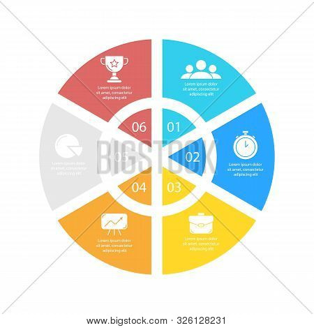 Circle Infographic Template With 6 Options For Presentations Or Charts. Business Concept Round Diagr