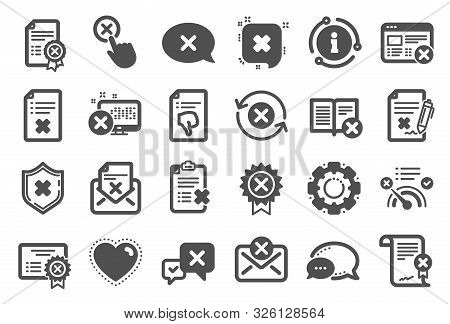 Reject Or Cancel Icons. Set Of Decline Certificate, Cancellation And Dislike Icons. Refuse, Reject S