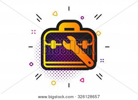 Repair Tool Case Sign. Halftone Circles Pattern. Spanner Tool Icon. Fix Instruments Symbol. Classic