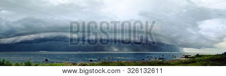 Big Gray Storm Cell Over The Bay