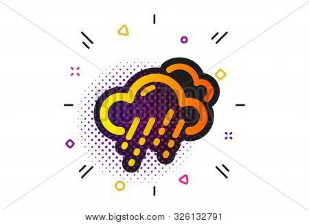 Clouds With Rain Sign. Halftone Circles Pattern. Rainy Weather Forecast Icon. Cloudy Sky Symbol. Cla