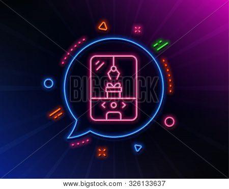 Crane Claw Machine Line Icon. Neon Laser Lights. Amusement Park Sign. Carousels Symbol. Glow Laser S