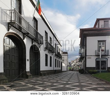 City View On The Old Town With Harbor At Ponta Delgada, São Miguel Island, Azores, Portugal