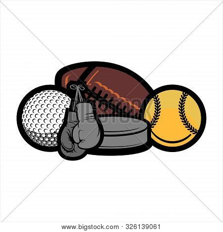 Variety Of Sports Equipment On White Background  Items Include Boxing Gloves, A Football, A Baseball