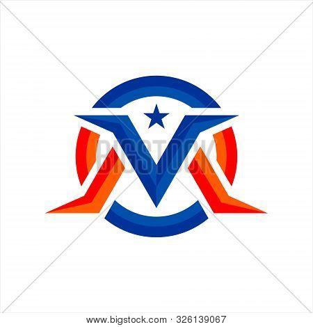 The Logo Letter V And The Letters M Or M And V, In Blue With Red And Decorated With Blue Stars, With