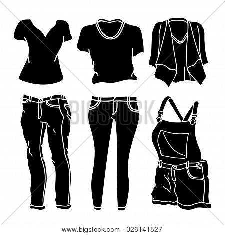 Collection Of Clothing Silhouette Vector Design Isolated White Background. Clothes Icon Isolated On