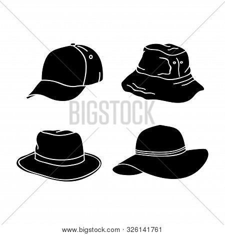 Silhouette Hat Design Collection Isolated White Background. Hat Icon Isolated On White Background. D