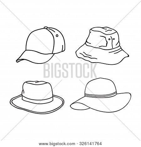 Collection Of Outline Hat Design Isolated White Background.  Icon Isolated On White Background. Dood