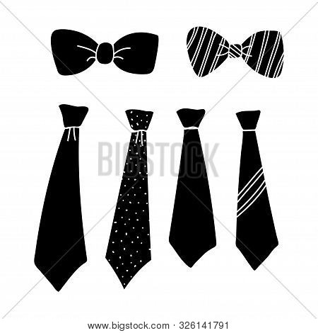 Tie Collection Design Silhouette Isolated White Background. Tie Icon Isolated On White Background. T