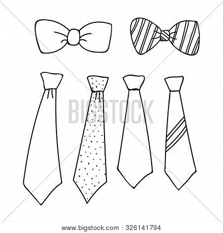 Collection Of Tie Outline Designs Isolated White Background, Tie Icon Isolated On White Background.
