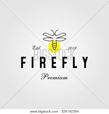 Vintage Line Art Firefly Logo Icon Illustration Design