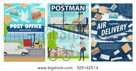 Post Office, Mail Delivery And Postman Vector Design Of Postal Service. Cartoon Courier And Mailman