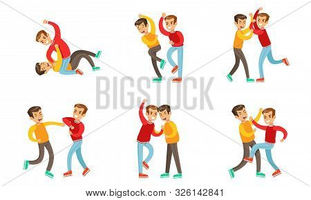 Teenage Boys Fighting And Quarreling Set, Aggressive Behavior At School, Aggressive Boy Pushing And