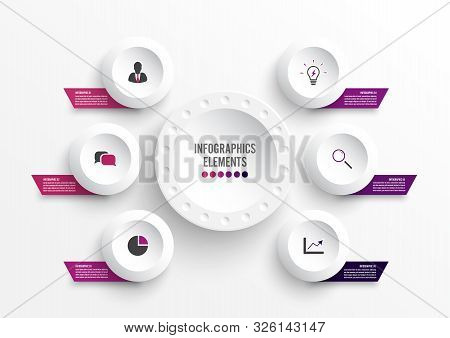 Vector Infographic Template With 3d Paper Label, Integrated Circles. Business Concept With 6 Options