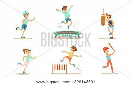 Children Doing Different Kind Of Sports Set, Teen Boys And Girls Rollerblading, Jumping On Trampolin