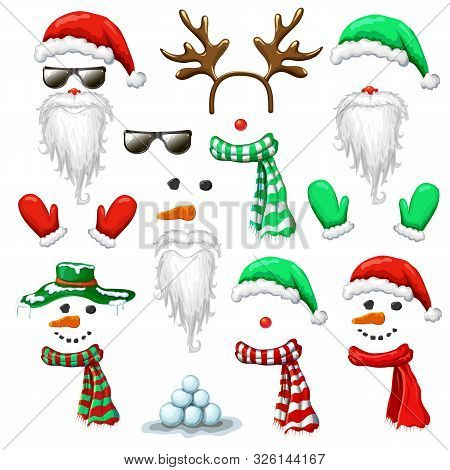 Big Set Of Christmas And New Year Photo Booth And Props. Holiday Mask Clip Art Isolated On White. Sa