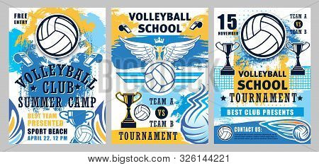 Volleyball Sport Game Championship Cup Vector Posters With Player Balls, Winner Trophies And Whistle
