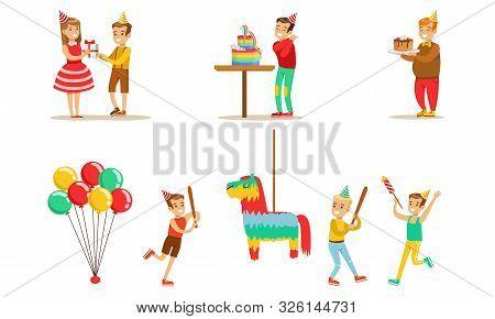 Kids Celebrating Birthday Set, Boy Going To Broke The Pinata, Children Having Fun At Birthday Party