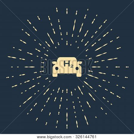 Beige Hydrogen Car Icon Isolated On Dark Blue Background. H2 Station Sign. Hydrogen Fuel Cell Car Ec