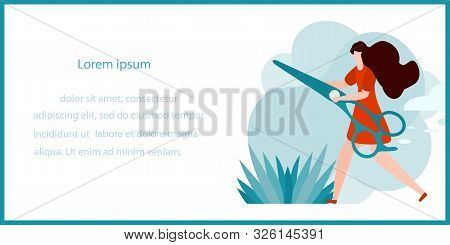 Vector Illustration With Girl And Professional Hairdresser Tools. Beauty, Hairdressing Salon. Glamou